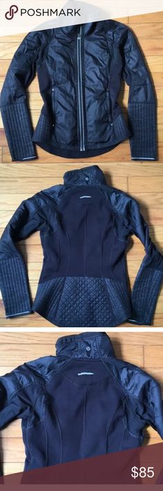 Lululemon Black fleece full zip coat warm! Sz 4 This will fit a 4 or 6 in my opinion. In good shape with minimal wear. Not perfect but def great shape. Super cute and flattering. Thick fleece. lululemon athletica Jackets & Coats