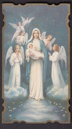 Virgin Mary Child Jesus Angels  Holy catholic prayer card