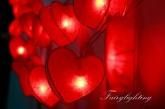 String Lights-20 Romantic  Heart Red Color Paper Goods Hanging String Lights,Children Room,Bedroom String Lights,Wedding Light Gift