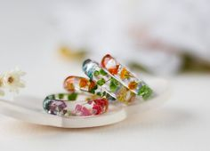Real Flower Ring  Rainbow Gyp Botanical by ButtonsyJewellery