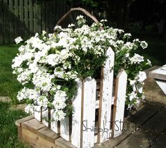 wooden shabby chic outdoor planter ideas   Picket fence planter by Shabby Story
