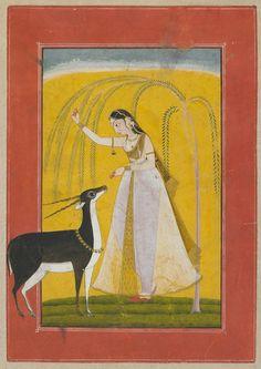 Lady feeding a Pet Antelope. Nayika in Separation. Pahari. ca. 1750 Punjab Hills. poss. Kulu India