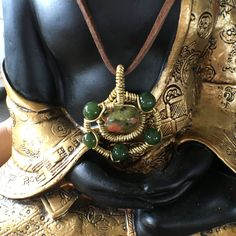 Gold wire wrap with Unakite and  Dark Green Jade & stones by ignitejewelsdesign on Etsy