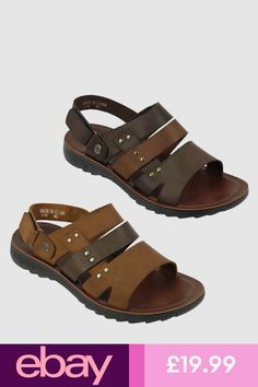 974b3d1d49a998 Mens Real Leather Sandals Gladiator Open Toe Back Strap Beach Walking  Slippers