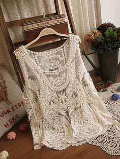 daydreamer embriodery lace sleeveless top in beige.  Gorgeous!