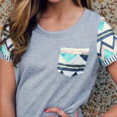 Material Girl Aztec Sequin Sleeve Top