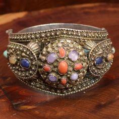 "Sterling Silver - HEAVY Coral Lapis Turquoise Cuff 66.5g - Bracelet (7"") UZ985"