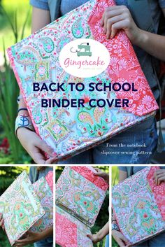 Binder Cover Sewing pattern by Gingercake.  Any size binder or notebook can be covered using this pattern!  Love this back to school version for her 12 year old.