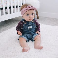 """""""Someone's starting to sit up on her own... And wear overalls. #toomuchtohandle"""" Photo taken by @kaleymunday on Instagram. #hebegoals"""
