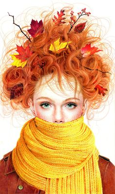 ♪ The Falling Leaves ♪...ended up in her hair!   Beautiful eyes!