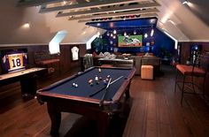 Expand your attic game room into a luxurious man cave – Game Room İdeas 2020 Attic Game Room, Attic Rooms, Attic Spaces, Attic Bathroom, Attic House, Attic Media Room, Attic Floor, Attic Playroom, Attic Apartment