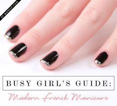 Here's an easy tutorial for how to do this modern French manicure! All you need is base color, glitter polish, and top coat! Using glitter as the French tips requires less precision, which saves you time!