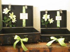 Set of Leather Wedding Card Box Holder Suitcase / Vintage Style Wedding Card Holder / Wishes / Programs Holder. $100.00, via Etsy.