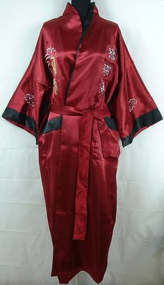 6c1d51ade Best Brand Strong Packing Burgundy Black Womens Satin Silk Two Face Robe  Embroidery Kimono Bath Gown Dragon One Size Reversible Chinese.