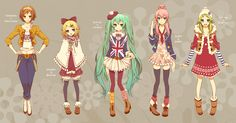 Meiko, Rin, Miku, Luka, and Gumi