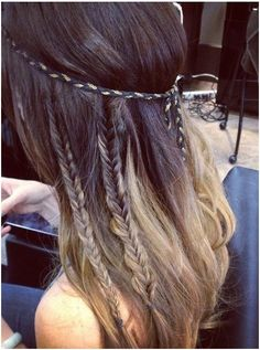 mini fishtail braids add some edge to hair when worn down.