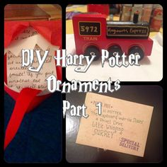 Easy As DIY: DIY Harry Potter Ornaments Series: Acceptance Letter, Hogwarts Express, Ron's Howler Deco Noel Harry Potter, Magie Harry Potter, Décoration Harry Potter, Classe Harry Potter, Harry Potter Halloween, Harry Potter Birthday, Harry Potter Christmas Ornaments, Hogwarts Christmas, Harry Potter Bricolage