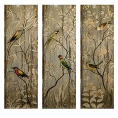 Perched Birds 3-Panel Wall Decor (Set of 3)