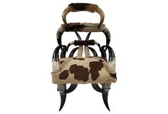Cowhide & horn chair great for just the right setting!