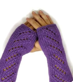 Knit Fingerless Gloves Knit Arm Warmers by Nothingbutstring, $27.00