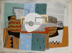 mustard grey & blue (Still Life with Mandolin 1924, Pablo Picasso)
