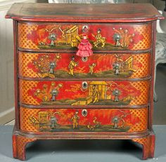 Gorgeous chest with wonderful chinoiserie...this would be awesome against yellow walls.