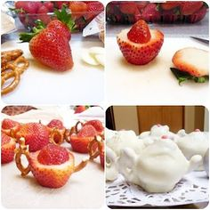 DELISH: white chocolate covered strawberry and pretzel teapots! Salty and sweet decorative treat for alice in wonderland party Mad Hatter Party, Mad Hatter Tea, White Chocolate Covered Strawberries, Alice Tea Party, Alice In Wonderland Tea Party, Tea Party Birthday, Birthday Ideas, Tea Party Bridal Shower, Party Treats