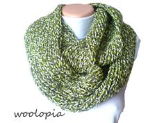Hey, I found this really awesome Etsy listing at https://www.etsy.com/listing/176452011/green-creme-hand-knitted-infinity-scarf