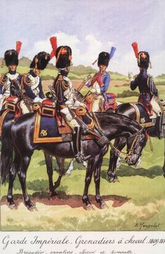 Grenadier à cheval. L to R Trooper, Trooper, Brigadier, Trumpeter & Officer by Rousselot