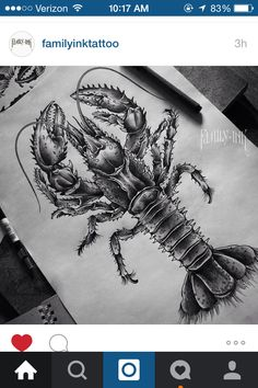 Pin By Sora On Crawfish Lobster Tattoo Lobster Drawing
