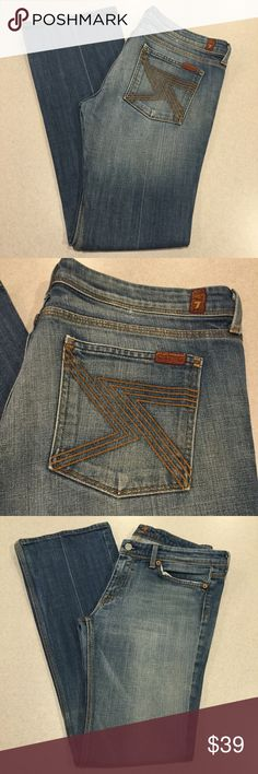 7 For All Mankind Jeans 32X32.5 Flynt Flare In NY! 7 for all mankind jeans Flynt flare in medium New York! Famous double 7 pockets Size 32 (hard to find!) 32.5 inch inseam Beautiful medium wash with soft fading, These are a hard to find now, don't miss. Perfect condition except a little rubbing on hems Retailed for $198.00 