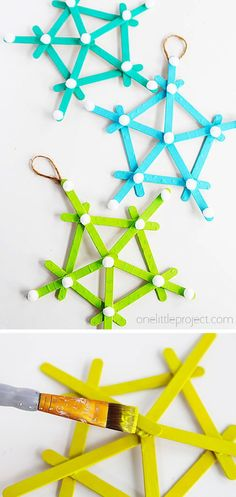 These popsicle stick snowflakes are super easy to make and couldn't be cuter! Kids of all ages will love putting them together and painting them bright colors. They are sure to make a dreary winter day a little more cheerful! Popsicle Stick Snowflake, Popsicle Sticks, Craft Activities, Preschool Crafts, Diy Crafts, Christmas Gifts For Kids, Holiday Crafts, Christmas Ornaments, Easy Crafts For Kids