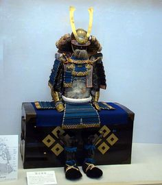 Blue-Laced Edo Period Samurai Armor,  hanada ito odoshi yoroi.  Although this armor was made in the Edo Period (1603-1868), it harkens back to a 14th century style of armor. As there really wasn't a need for practical battlefield armor during the great peace of the Edo period, older armor styles became back in vogue, like a fashion statement for parades and ceremonies. This piece can be found at the Takatsuki Castle Ruin Historical Museum in Takatsuki, Osaka.