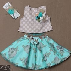 Diy Crafts - casualstyle,headband-The set includes skirt that has elasticated work with net flare and cute bow. The floral print on skirt is enhancing Kids Dress Wear, Kids Gown, Dresses Kids Girl, Kids Outfits, Baby Girl Skirts, Baby Girl Tops, Girls, Kids Wear, Baby Frocks Designs