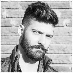 military haircuts men with mustache and beard
