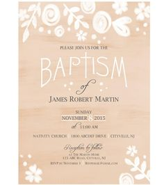 An elegant gender-neutral baptism or christening invitation with a watercolor floral design