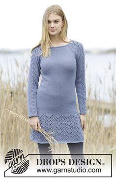 """Strikket DROPS kjole i """"Cotton Merino"""" med hulmønster og raglan. Str S - XXXL. ~ DROPS Design"""