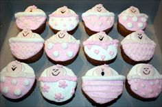 Cupcakes, Beautiful Design Of Baby Shower Cupcake With White And Pink Color Ideas 00507: Cute Baby Shower Cakes Design & Decoration