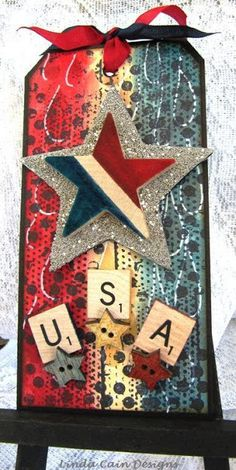 FRIENDS in ART: Last Year's  tag, but one of her favorite - Happy 4th of July USA...