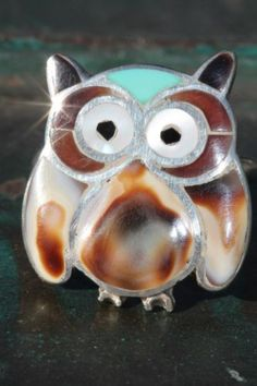 Vintage Signed Zuni Sterling Silver Shell Turquoise Owl Ring Lawrence Esalalio