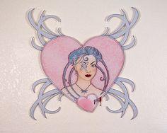 Acrylic, Laser Cut, Digital Illustration, Wall Art, SteamPunk, Braids, Pink…