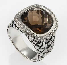 Scott Kay Smokey Quartz Basket Weave Ring