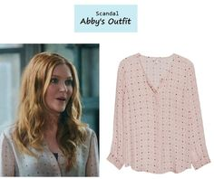 """October 19, 2013 @ 11:53pm Darby Stanchfield as Abby inScandal- """"Mrs. Smith Goes to Washington"""" (Ep. 303). Abby's Blouse:Joie """"Wilmington"""" Polka Dot Top $248 $86.99here 