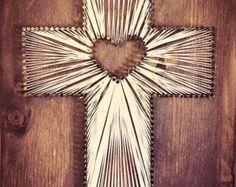 Cross String Art Wood Decor Religious Art by HannahMcEntireArt