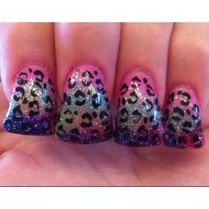 "My rainbow leopard flare nails :)  minus the whole ""flare"" bit"