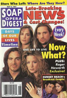 Classic Soap Opera Digest Covers Mary Beth Evans, Cynthia Watros, Gina Tognoni, Rena Sofer, Kimberly Mccullough, Heather Tom, Roger Howarth
