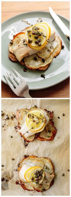 Lemon-Herb Sole on Crispy Potato Rafts