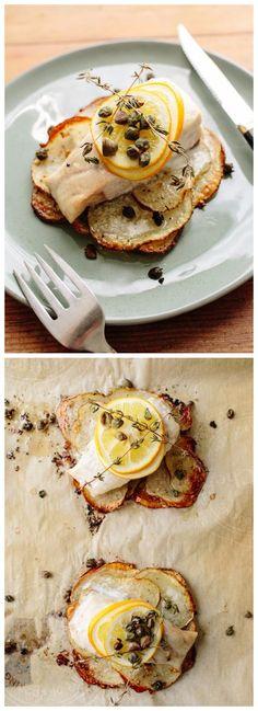 Lemon-Herb Sole on Crispy Potato Rafts