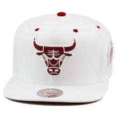 287ac7190c5 Mitchell   Ness Chicago Bulls Snapback Hat ALL WHITE MAROON For Jordan 6  Retro