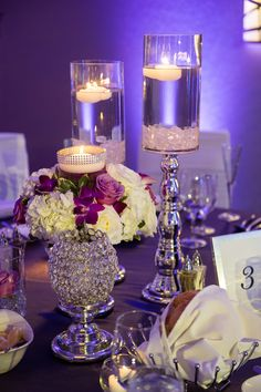 Crystals, Candles and a small floral piece created a striking table piece. Small Centerpieces, Wedding Centerpieces, Wedding Planning, Wedding Ideas, Candels, Event Styling, Bat Mitzvah, Engagements, Corporate Events